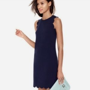 J. Crew Scalloper Navy Blue Dress 8